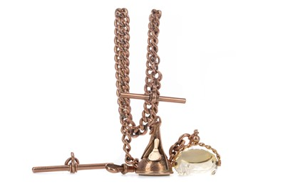 Lot 709 - A NINE CARAT GOLD ALBERT CHAIN WITH FOBS