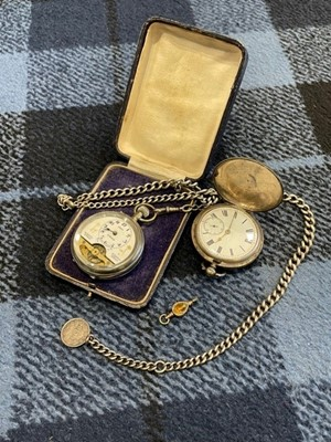 Lot 2 - A SILVER CASED POCKET WATCH, ONE OTHER AND TWO ALBERT CHAINS