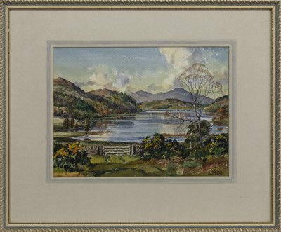 Lot 550 - LOCH VIEW WITH A FENCE, A WATERCOLOUR BY STIRLING GILLESPIE
