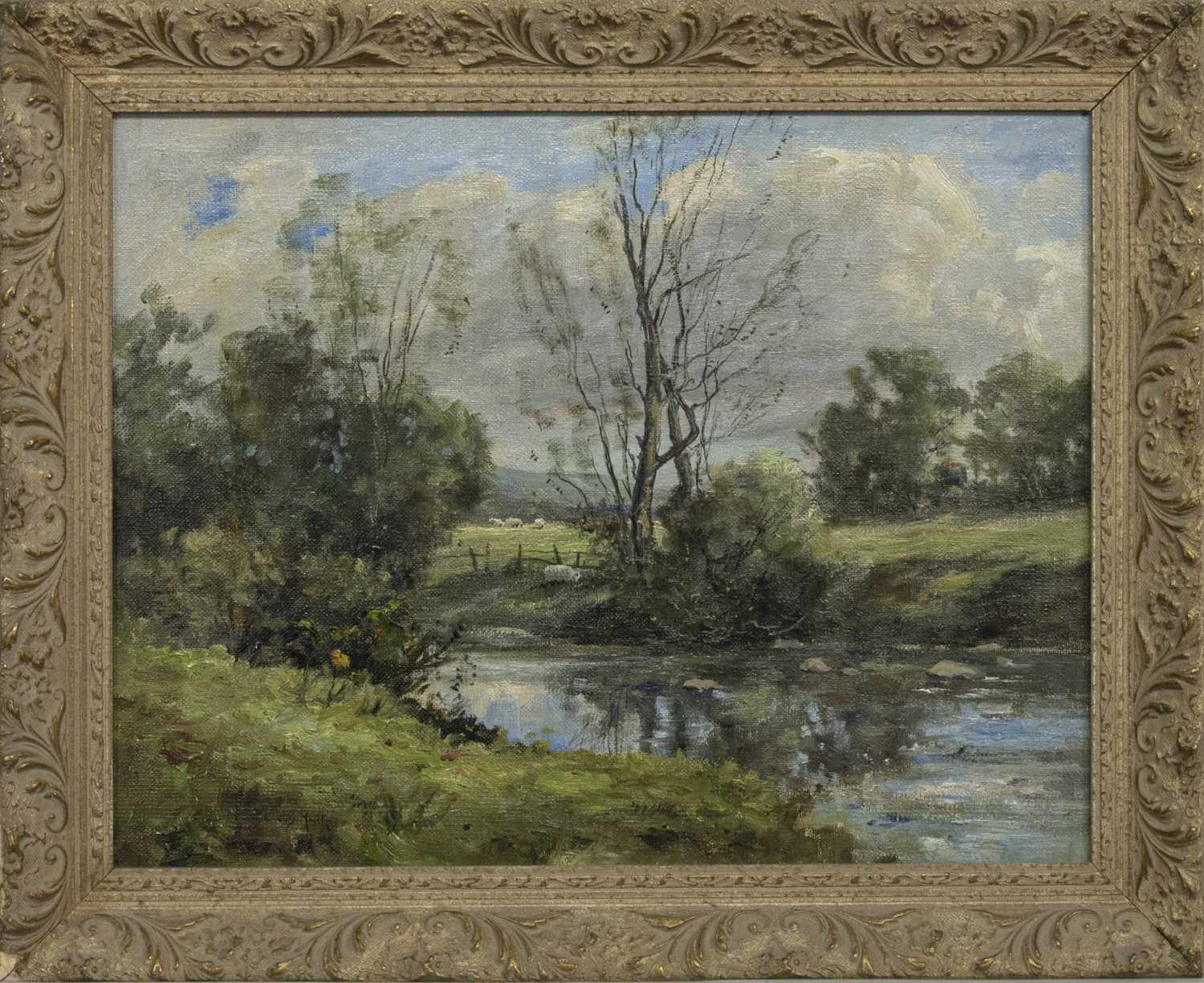 Lot 30 - RIVER AND SHEEP IN SPRING, AN OIL BY EMILE VAN MARCKE