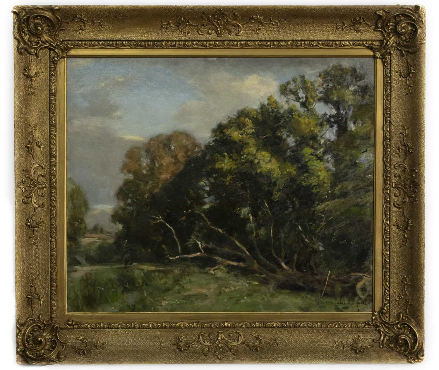 Lot 180 - THE WALK TO THE RIVER, AN OIL BY ALEXANDER IGNATIUS ROCHE