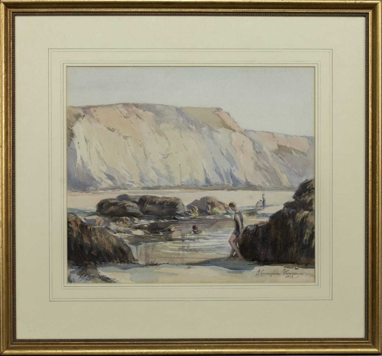 Lot 8 - BATHERS BELOW CLIFFS, A WATERCOLOUR BY GEORGE CUNNINGHAM STEVENSON
