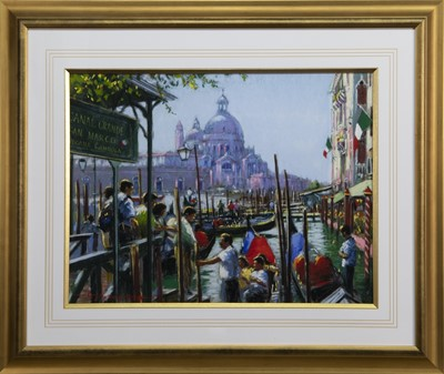Lot 574 - GONDOLIERS ON THE GRAND CANAL, 1998, A PASTEL BY ANTHONY ORME