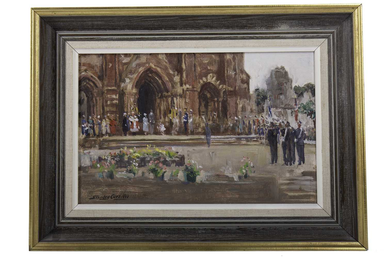 Lot 2018 - A BOUQUET FOR HER MAJESTY, AN OIL BY STANLEY CURSITER