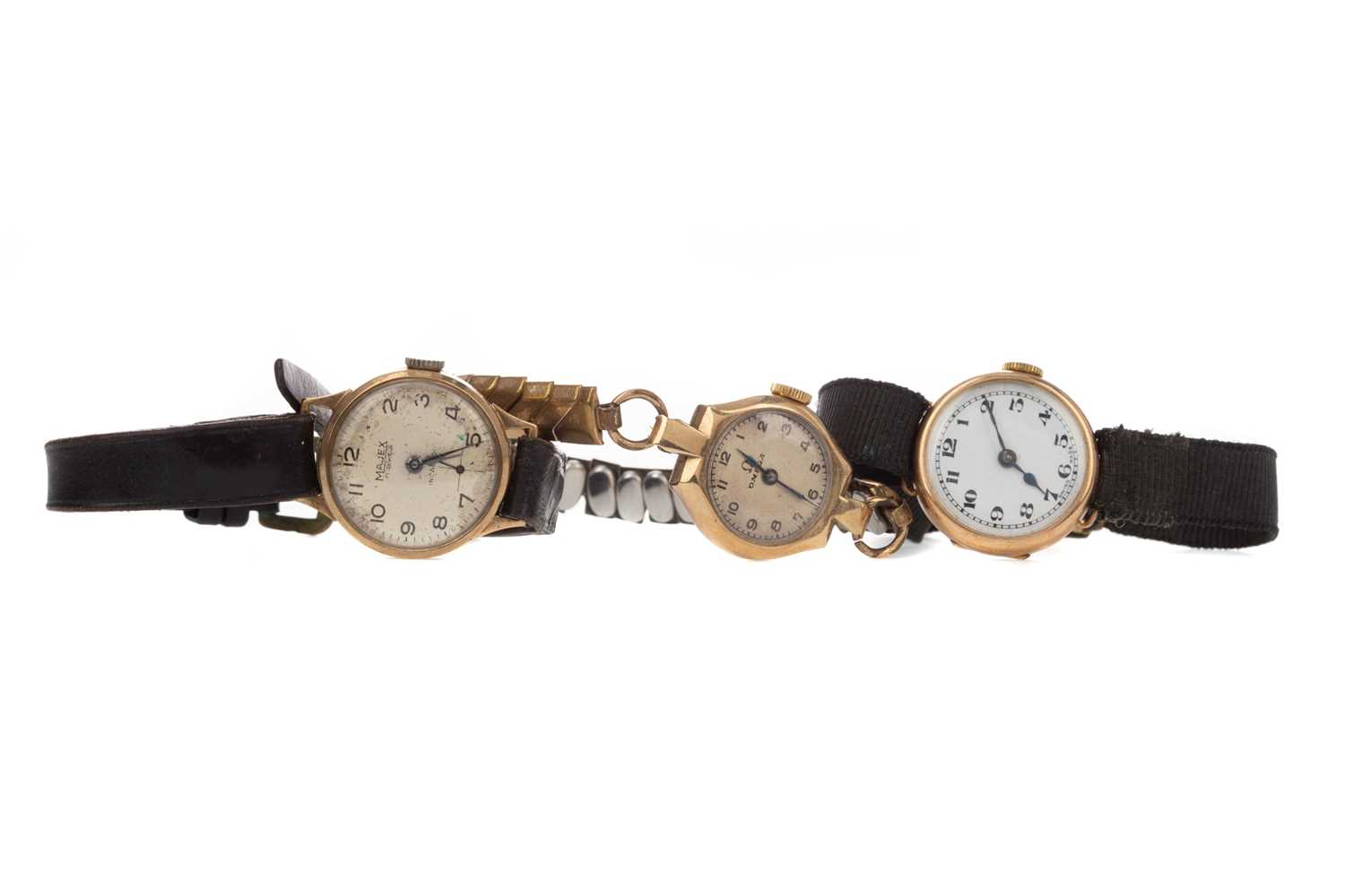 Lot 716 - THREE LADY'S NINE CARAT GOLD CASED WATCHES