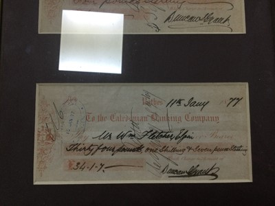 Lot 8 - A COLLECTION OF FRAMED BANKNOTES AND CHEQUES