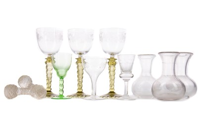 Lot 1107 - A SET OF THREE EARLY 20TH CENTURY WINE GLASSES AND OTHER GLASS WARE