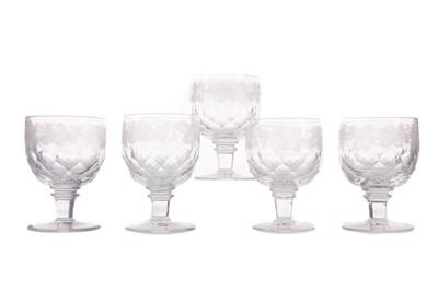 Lot 1108 - A SET OF FIVE VICTORIAN GLASS RUMMERS