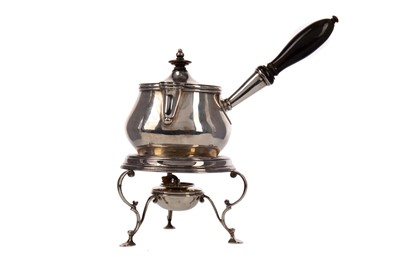 Lot 516 - A SILVER BRANDY WARMING PAN ON STAND