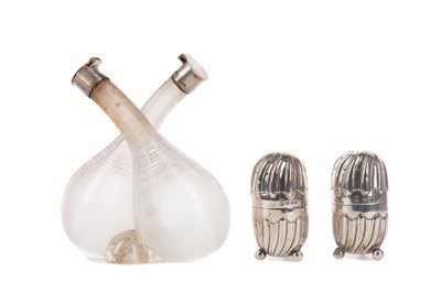 Lot 522 - A PAIR OF LATE VICTORIAN PEPPERETTES, ALONG WITH A VINEGAR AND OIL BOTTLE