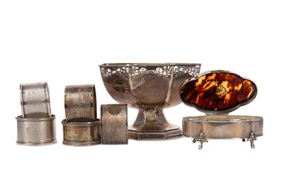 Lot 524 - A SMALL SILVER QUARTEFOIL TRINKET BOX AND OTHERS