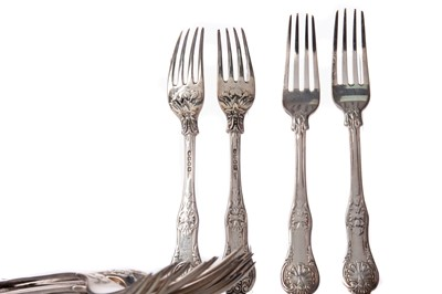 Lot 526 - A COMPSITE SET OF TWENTY-THREE 19TH CENTURY SILVER TABLE FORKS