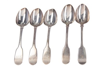 Lot 532 - TWO SETS OF FOUR SILVER FIDDLE PATTERN TABLE SPOONS