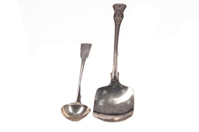 Lot 533 - A WILLIAM IV SILVER PASTRY SCOOP AND AN IRISH SAUCE LADLE