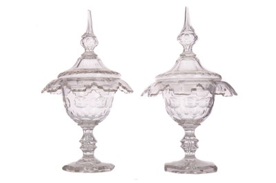 Lot 1110 - AN ATTRACTIVE PAIR OF EARLY VICTORIAN GLASS SWEETMEAT JARS