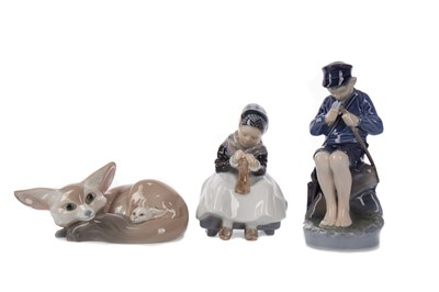 Lot 1112 - TWO ROYAL COPENHAGEN FIGURES AND A LLADRO FIGURE