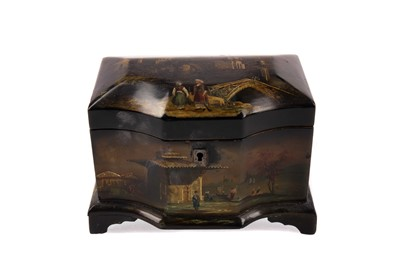 Lot 805 - A VICTORIAN LACQUERED TEA CADDY