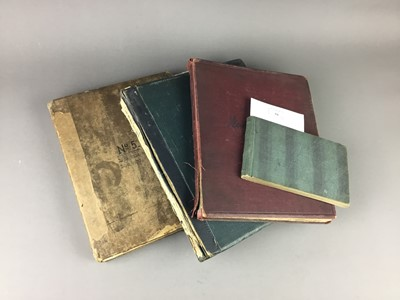 Lot 59 - A LATE 19TH/EARLY 20TH CENTURY SKETCHBOOK AND THREE ALBUMS OF NEWSPAPER CUTTINGS