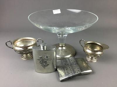 Lot 11 - A GLASS DECANTER WITH SILVER COLLAR AND A GLASS TAZZA WITH SILVER FOOT AND OTHER OBJECTS