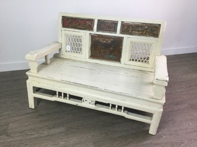Lot 1863 - A LATE 19TH/EARLY 20TH CENTURY CHINESE WOOD BENCH