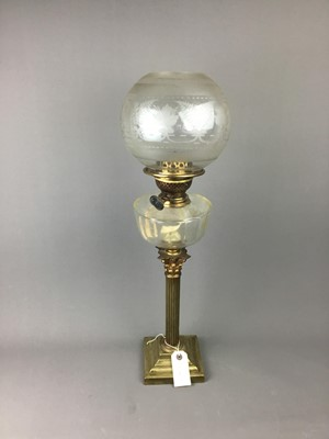 Lot 62 - A VICTORIAN BRASS OIL LAMP