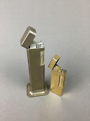 Lot 64 - AN ART DECO DUNHILL SILVER PLATED TALLBOY TABLE LIGHTER AND ANOTHER