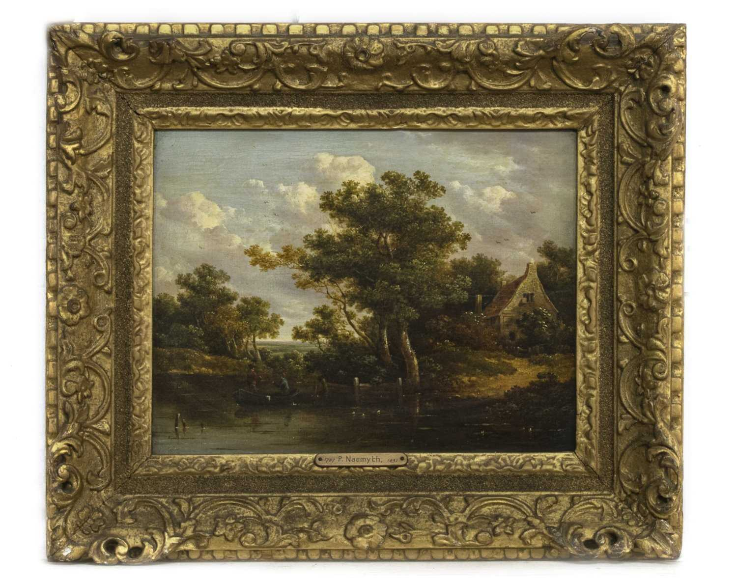 Lot 62 - AFTERNOON FISHING, AN OIL ATTRIBUTED TO PATRICK NASMYTH