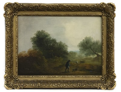 Lot 67 - FIGURE WITH DOG, AN OIL IN THE MANNER OF BENJAMIN BARKER OF BATH