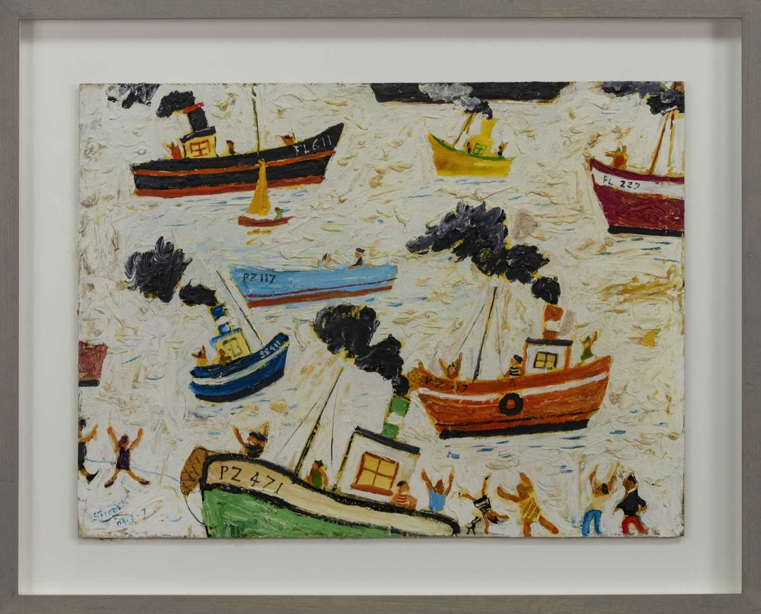 Lot 538 - BOATS OFF ST IVES, AN OIL BY SIMEON STAFFORD
