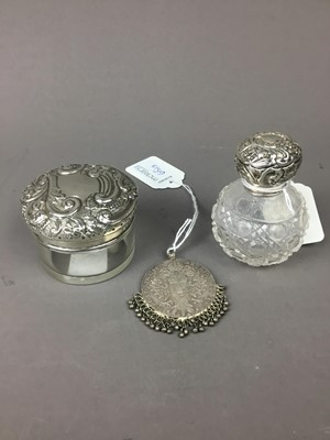 Lot 65 - A LOT OF TWO SILVER TOPPED TOILET JARS AND A COIN
