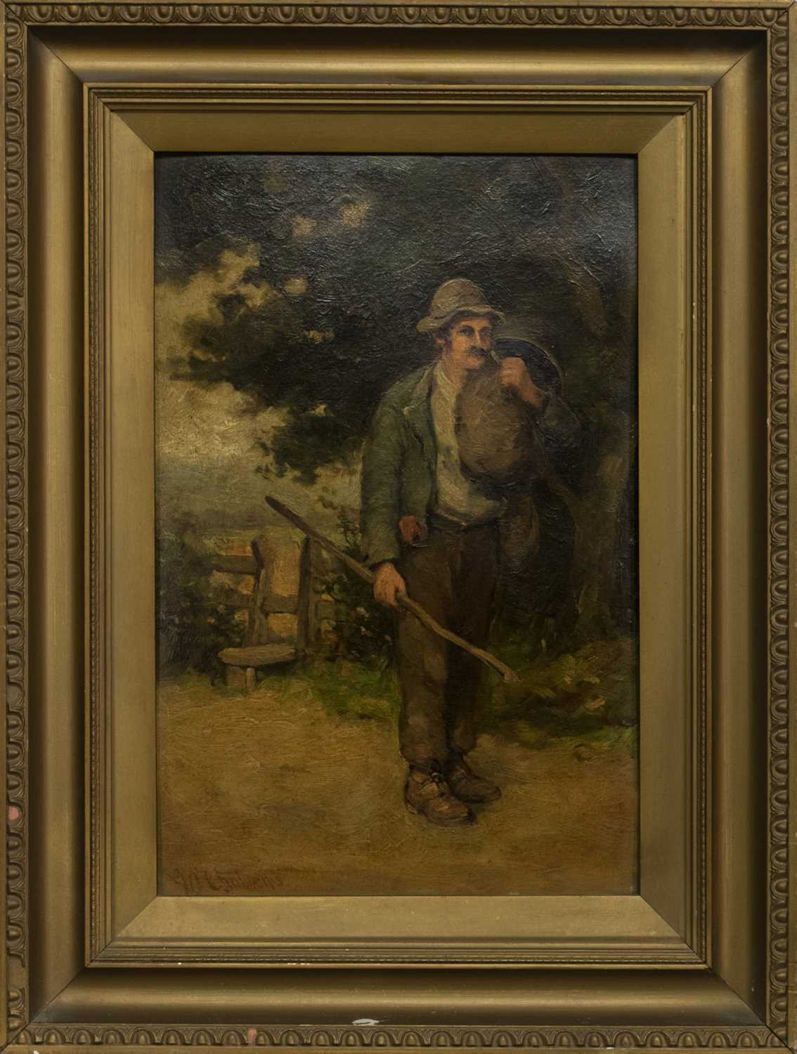 Lot 95 - A LONG DAY OF WORK, AN OIL BY GEORGE PAUL CHALMERS