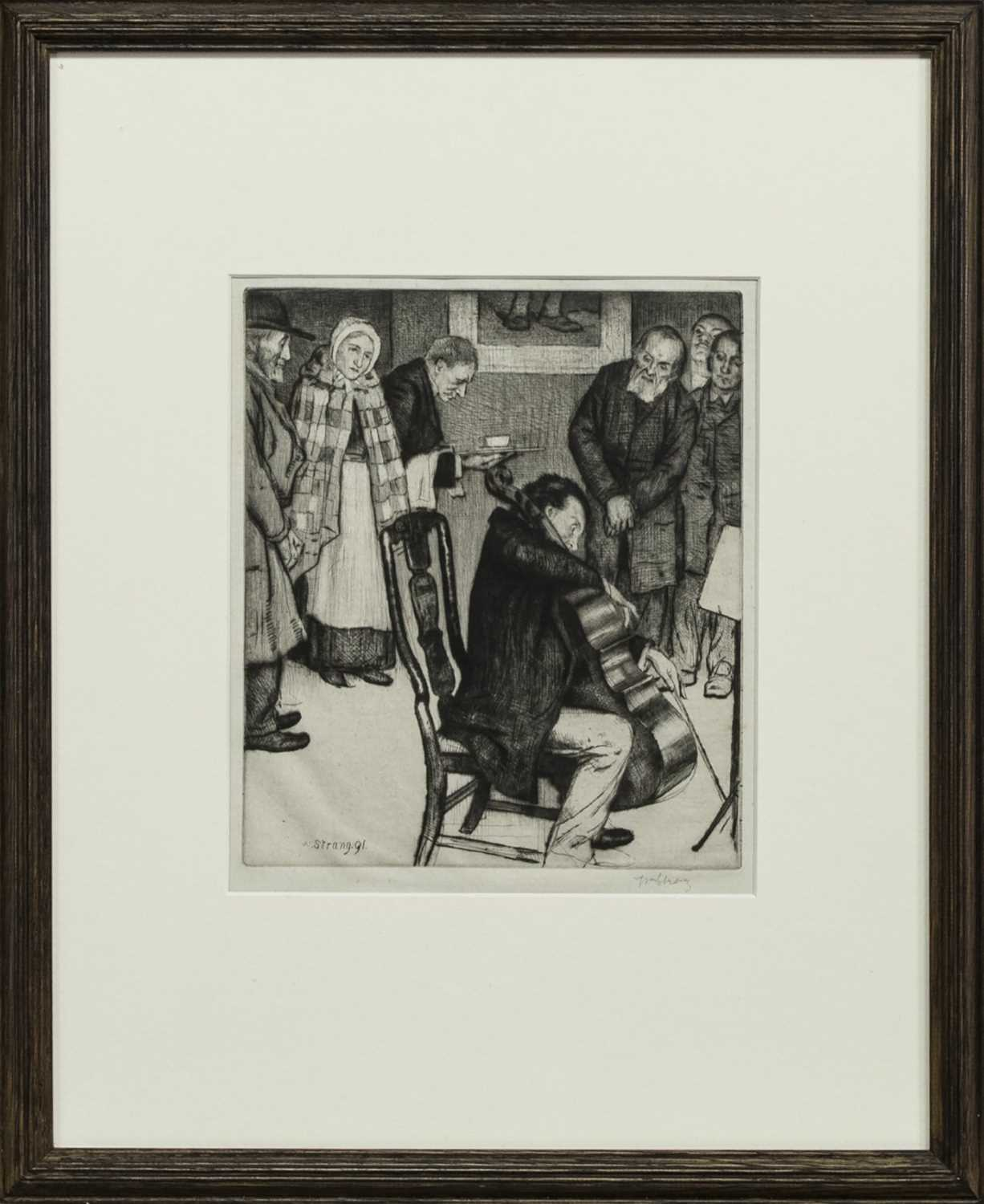 Lot 69 - THE VIOLINCELLIST, AN ETCHING BY WILLIAM STRANG