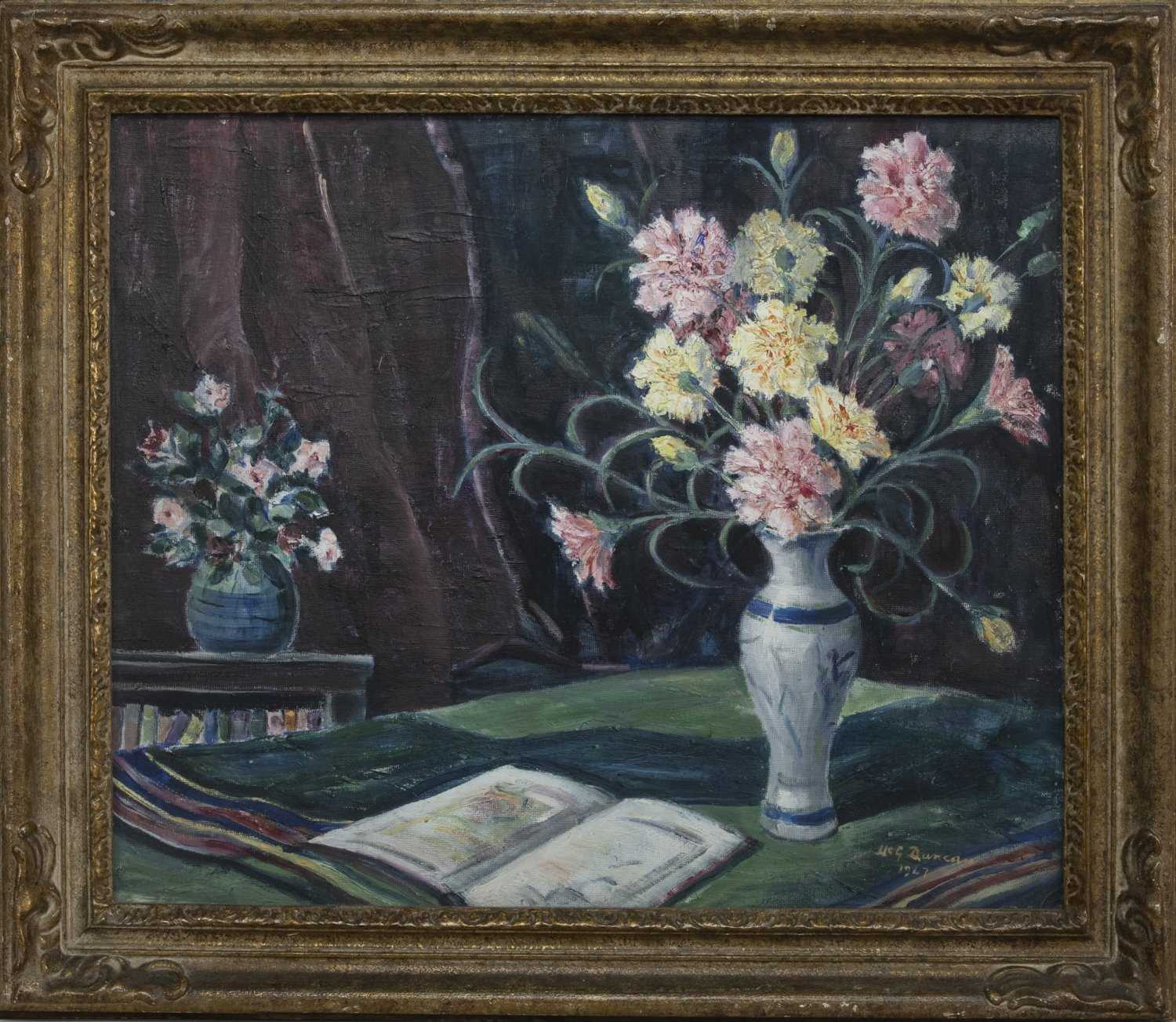 Lot 77 - CARNATIONS, AN OIL BY T G MCGILL DUNCAN