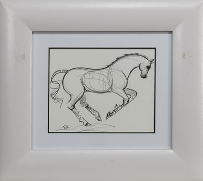 Lot 539 - HORSES AT DRESSAGE, A PAIR OF SKETCHES