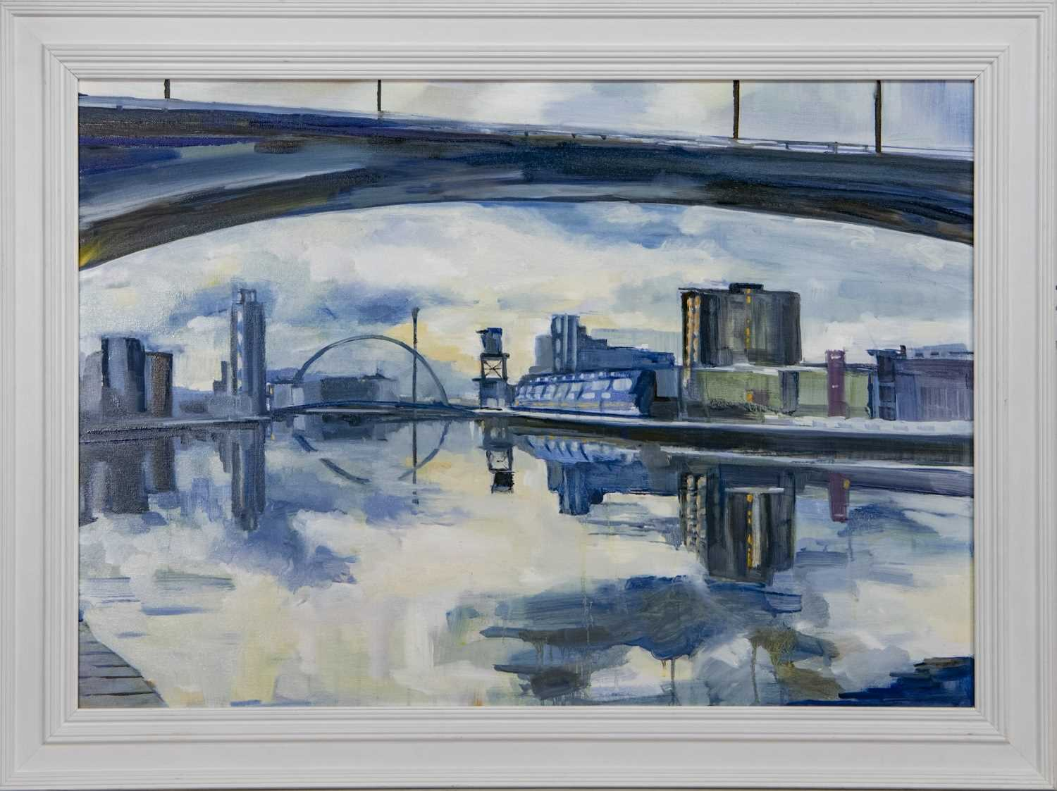 Lot 544 - THE CLYDE FROM UNDER THE KINGSTON BRIDGE, AN OIL BY HELEN MCDONALD MATHIE