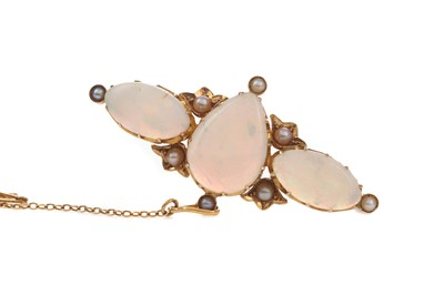 Lot 1463 - AN OPAL AND PEARL BROOCH
