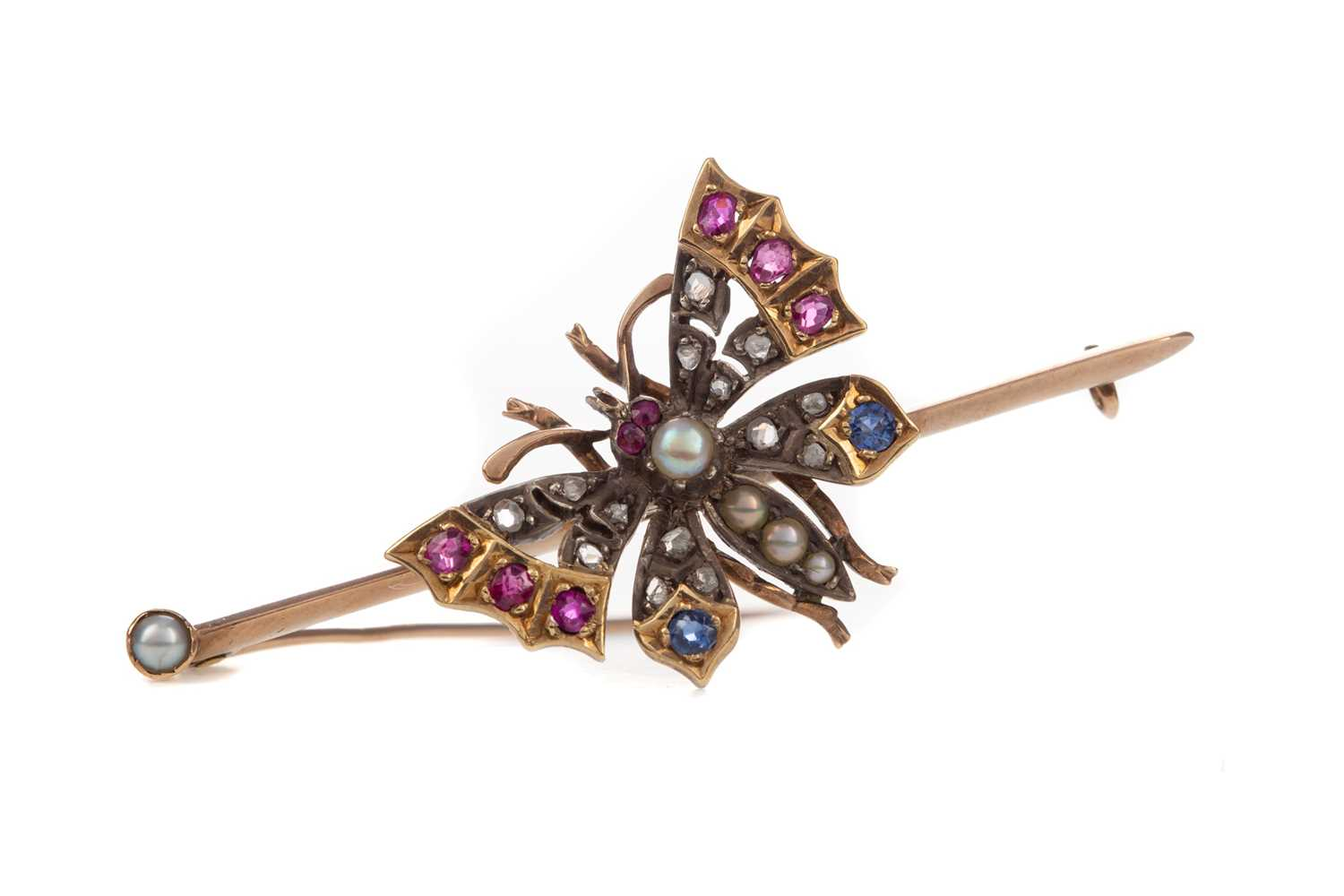 Lot 1471 - A RUBY, SAPPHIRE, DIAMOND AND PEARL BUTTERFLY BROOCH