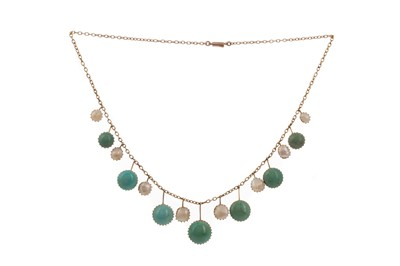 Lot 1480 - PEARL AND TURQUOISE NECKLET