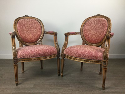 Lot 823 - A PAIR OF REPRODUCTION FAUTEUIL ARMCHAIRS