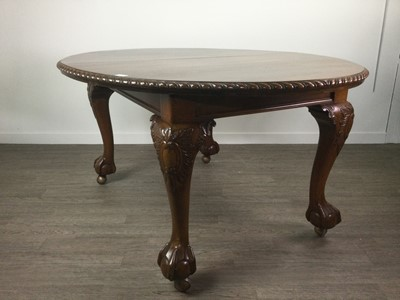 Lot 825 - A MAHOGANY DINING TABLE OF CHIPPENDALE DESIGN