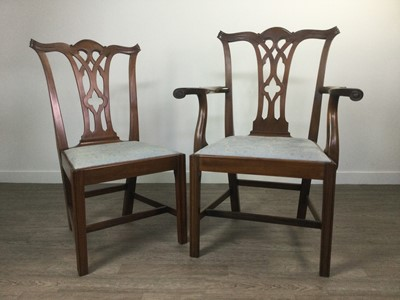 Lot 826 - A SET OF EIGHT MAHOGANY DINING CHAIRS OF CHIPPENDALE DESIGN