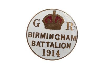Lot 838 - A WWI  BIRMINGHAM BATTALION 1914 ENAMELLED LAPEL BADGE