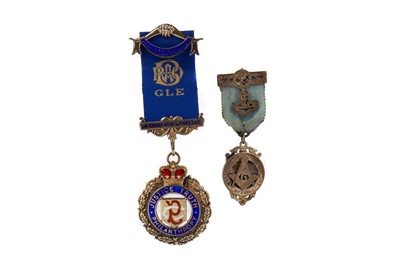 Lot 842 - A MASONIC INTEREST SILVER AND ENAMEL JEWEL ALONG WITH ANOTHER