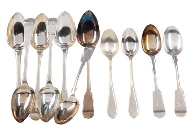 Lot 547 - A SET OF SIX GEORGE III TEASPOONS ALONG WITH OTHER SILVER SPOONS