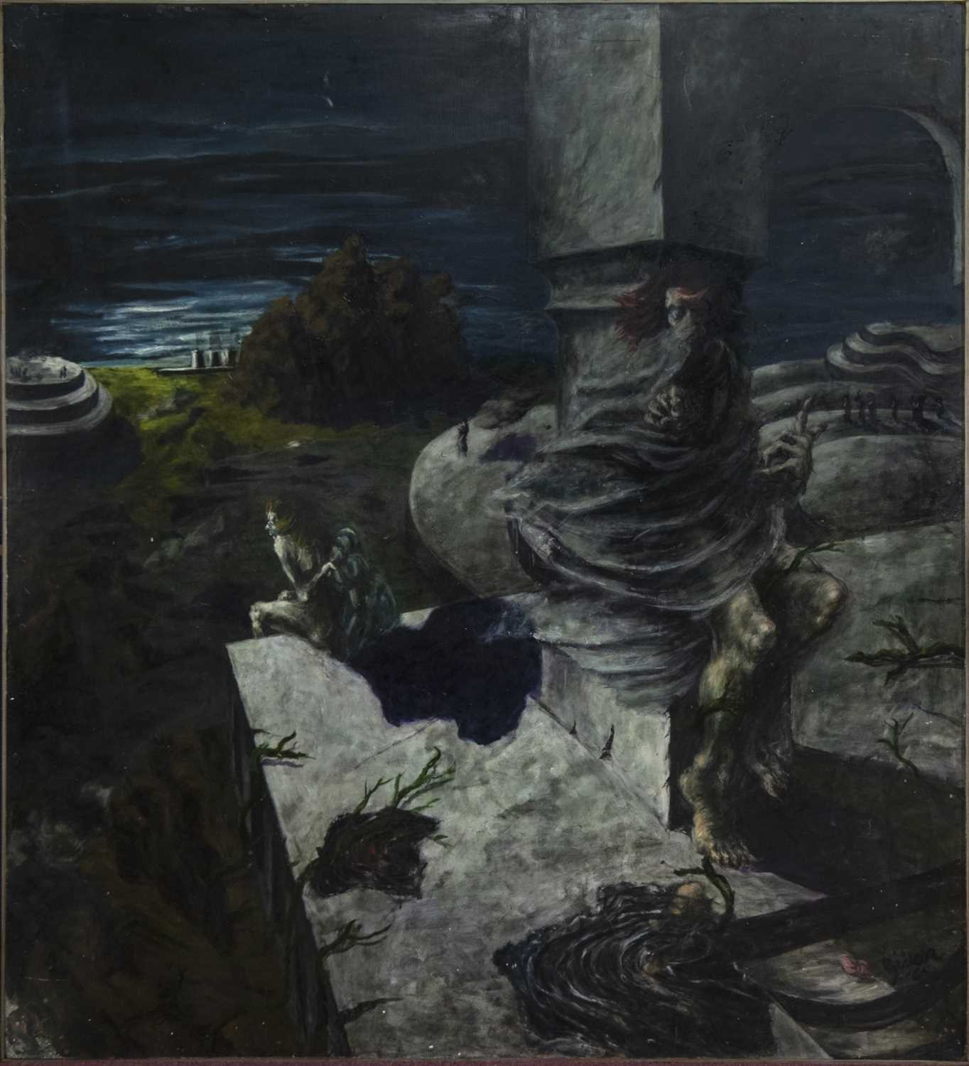 Lot 555 - GHOSTLY FIGURES IN A MYTHICAL SCENE, A LARGE OIL BY BILL GILLON