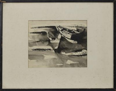 Lot 404 - BOAT ON BEACH, A WATERCOLOUR BY DAVID BRUCE WALKER