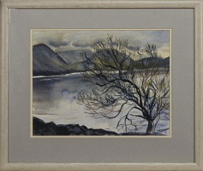 Lot 558 - BLUE WATER, MULL, A WATERCOLOUR BY ANNETTE STEPHEN