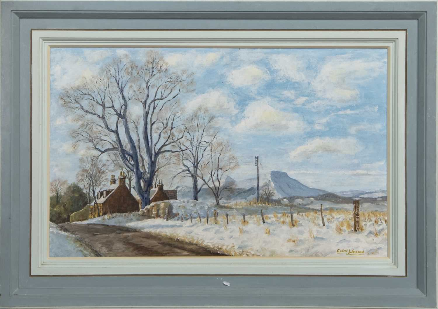 Lot 590 - THE EILDONS FROM BEMBERSIDE, AN OIL BY COLIN WESSON