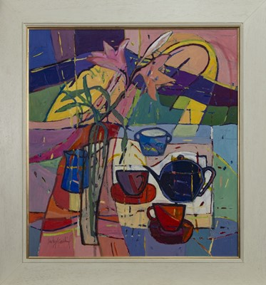 Lot 605 - TEA AND LILIES, AN OIL BY CATHERINE IMHOF-CARDINAL