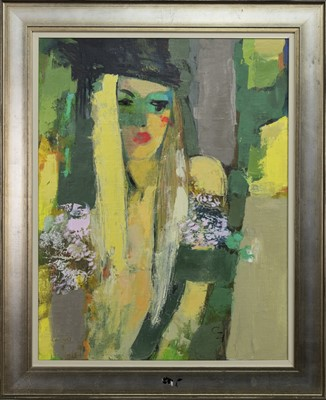Lot 620 - THE BLONDE BIRL, AN OIL BY VICTORIA COZMOLICI